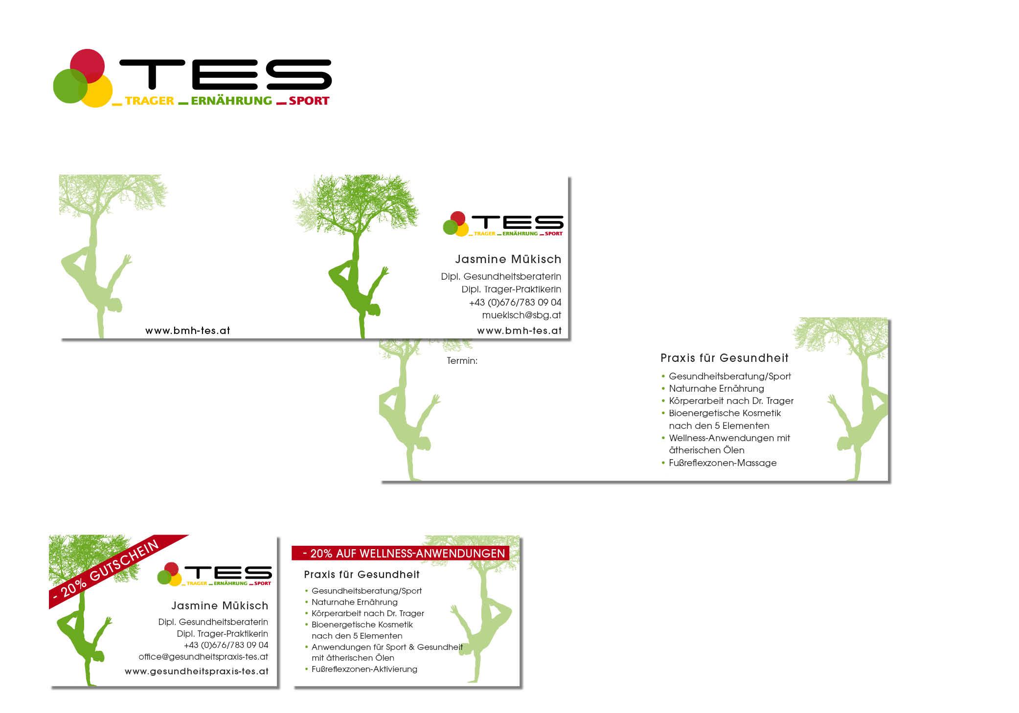 Logo, 4-Seitige Visitenkarte, 2-seitige Visitenkarte Gesundheitspraxis TES Jasmine Mükisch